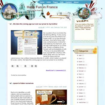Have Fun in France Blogger Template. free download template blogspot