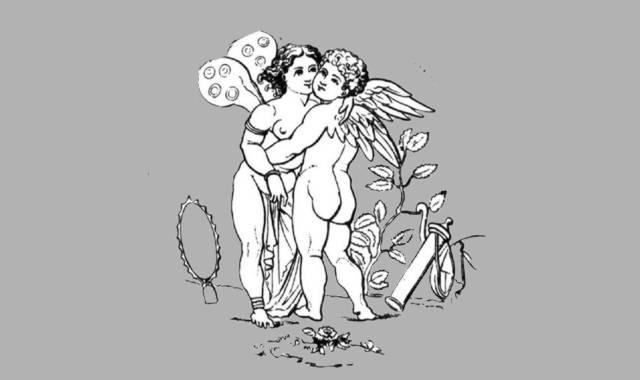 Engel sich umarmend-Amor