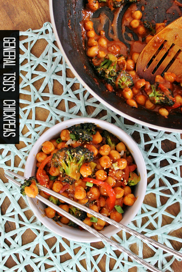Quick, Affordable, and Delicious Vegetarian General Tso's Chickpea recipe. #SWBeans #IC #AD