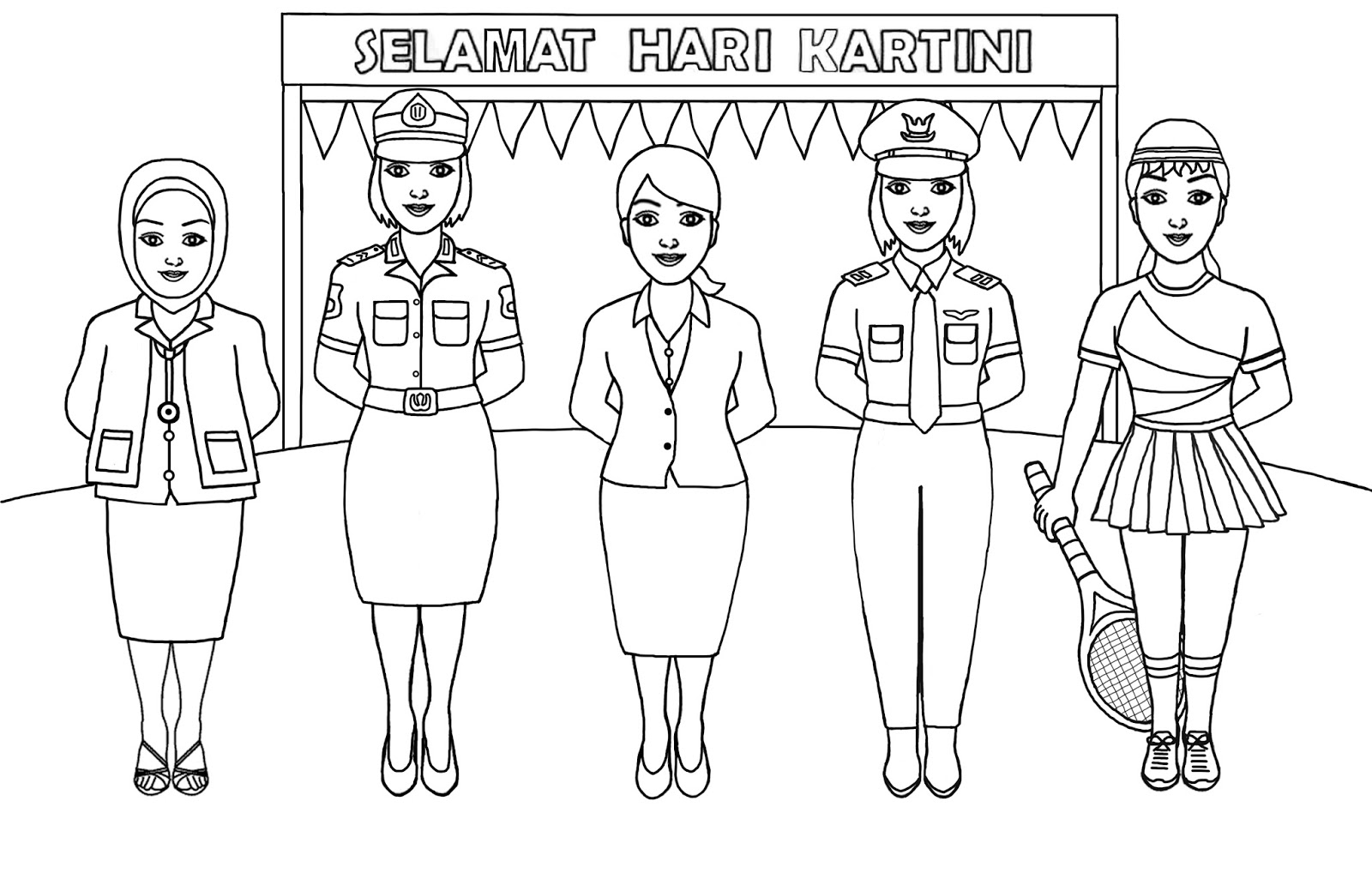 Gambar Mewarnai Peringatan Hari Kartini