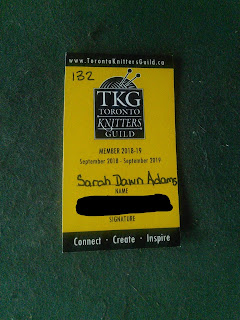 A photograph of the Toronto Knitter's Guild Membership Card.
