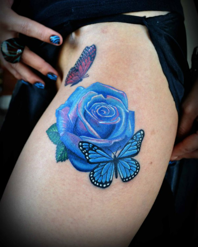 Gorgeous 3D Butterfly And Blue Rose Tattoos