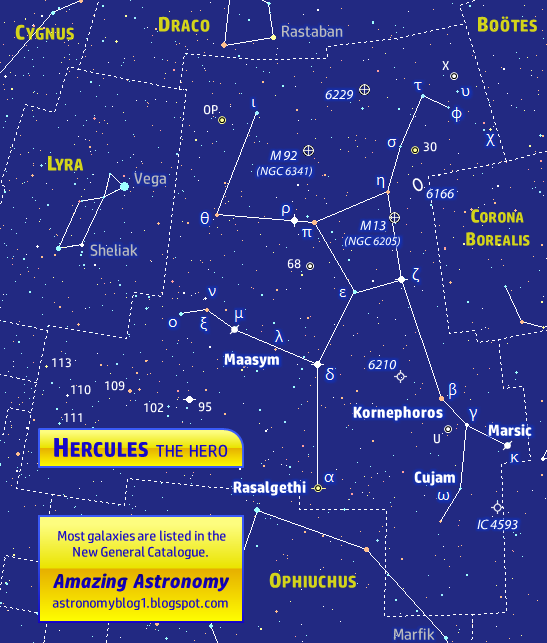 Constellation map or sky chart of Hercules and surrounding constellations