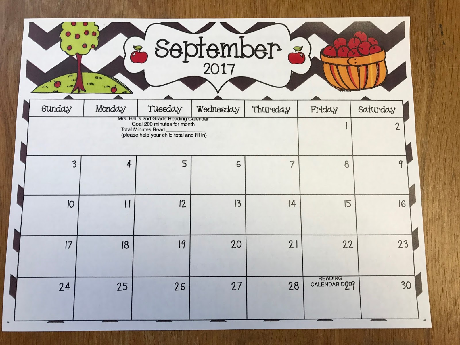 Mrs Bell S 2nd Grade Blog September Reading Calendar