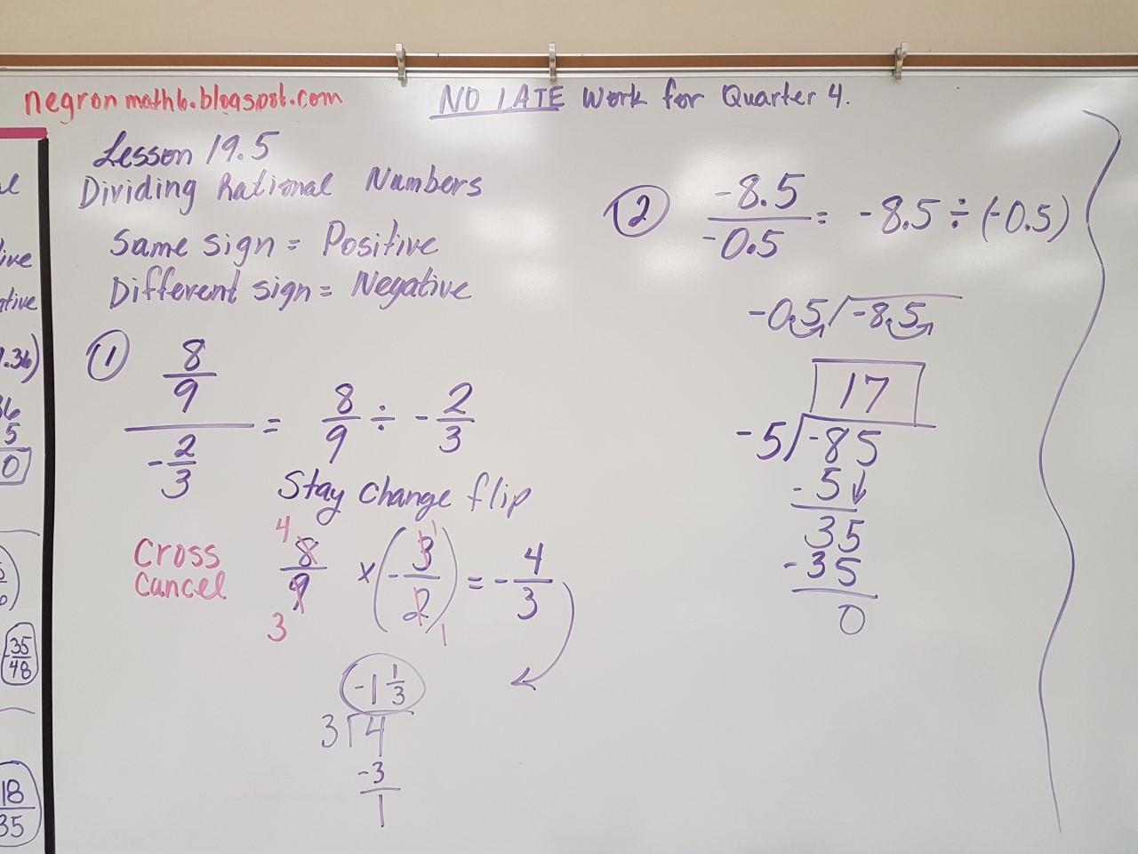 Mrs Negron 6th Grade Math Class Dividing Rational Numbers