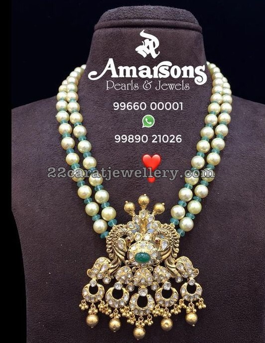 2 Layer Pearls Set with Emerald Beads