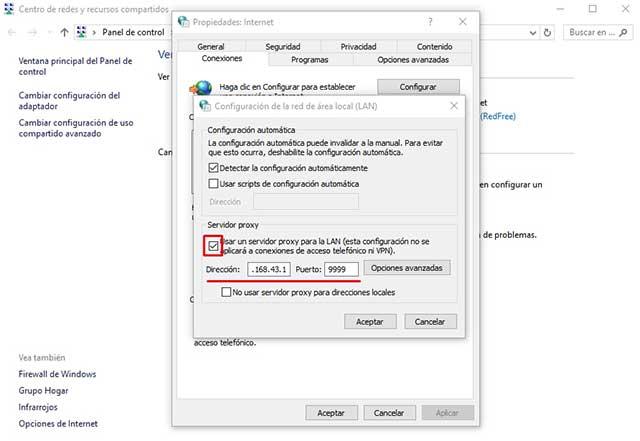 Usar un servidor proxy para la LAN