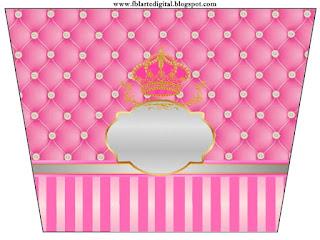 Etiquetas de Corona Dorada en Fondo Rosa con Brillantes  para imprimir gratis.