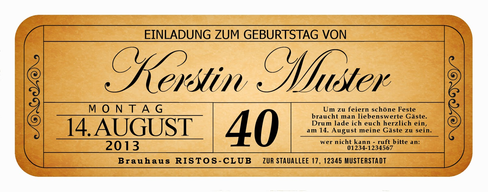 Einladung 43. Geburtstag : 43 - Einladungskarten Vip Ticket