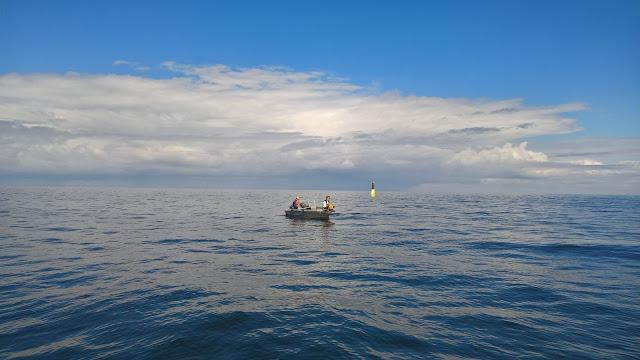 Pieni vene suuntaa merelle.