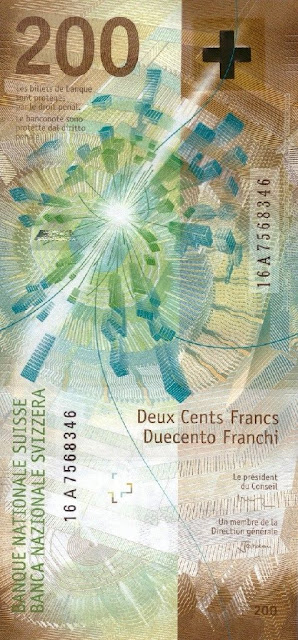 Switzerland money currency 200 Swiss Francs banknote 2018