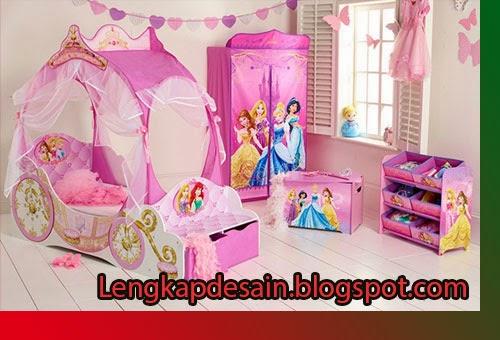 desain kamar tidur anak putri bertema princess kumpulan