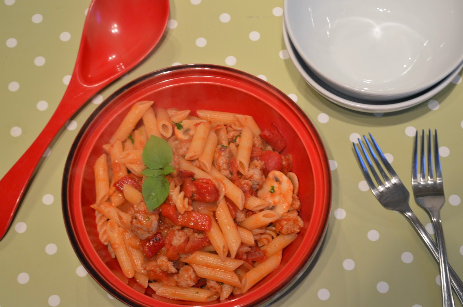 Sausage and Mushroom penne pasta in a bowl