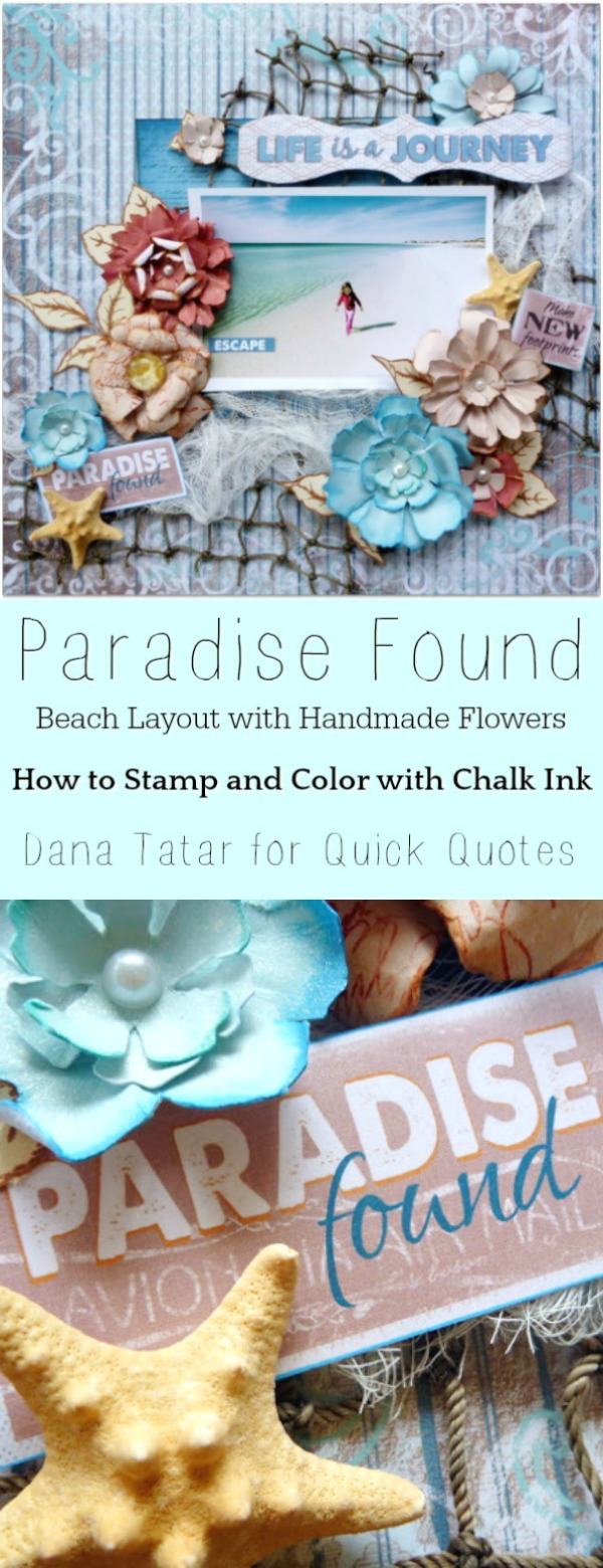 Beach Scrapbook Layout with Handmade Flowers and Star Fish