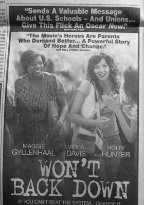 Black and white quarter page newspaper ad for Won't Back Down with photo of Viola Davis and Maggie Gyllenhaal