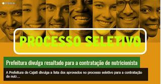 Prefeitura de Cajati divulga resultado para a Contratação de Nutricionista