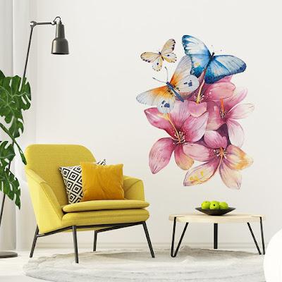 vinilo flores rosas y mariposas 1002