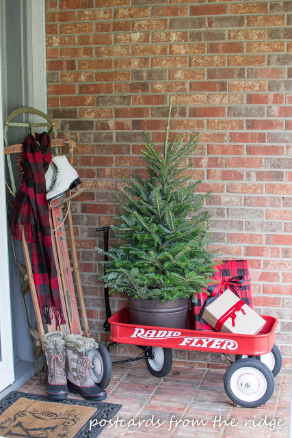 Post Cards From The Ridge-Christmas-Porch-Radio Flyer Wagon-Treasure Hunt Thursday- From My Front Porch To Yours
