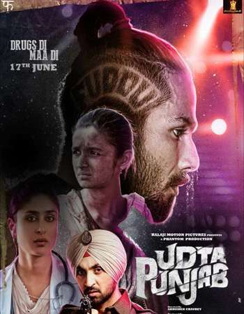 Poster Of Udta Punjab 2016 Hindi 170MB DVDRip HEVC Mobile ESubs Watch Online Free Download Worldfree4u