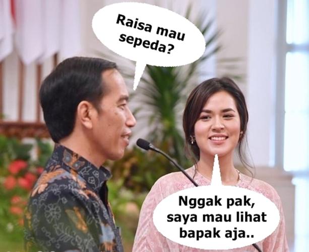 Viral! Meme Raisa Memandang Jokowi, Karena Pandangan Mautnya
