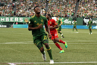 Dairon Asprilla tries his luck in the first half against RSL, but his shot was off