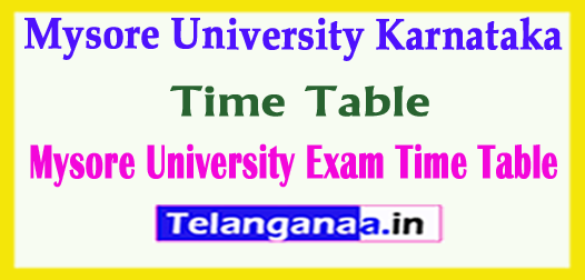 Mysore University Exam Time Table 2018