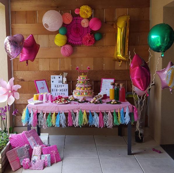 décoration anniversaire ballons colorés gonflés à l'hélium