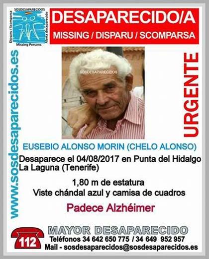 Eusebio Alonso Morín (Chelo Alonso) , hombre  mayor con alzheimer, desaparecido en Punta del Hidalgo, La Laguna Tenerife