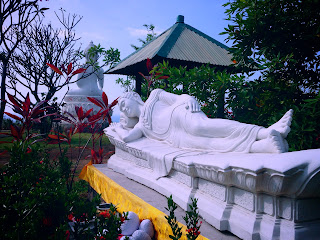 Beautiful Garden with White Sleeping Buddha at Brahmavihara Arama Monastery North Bali