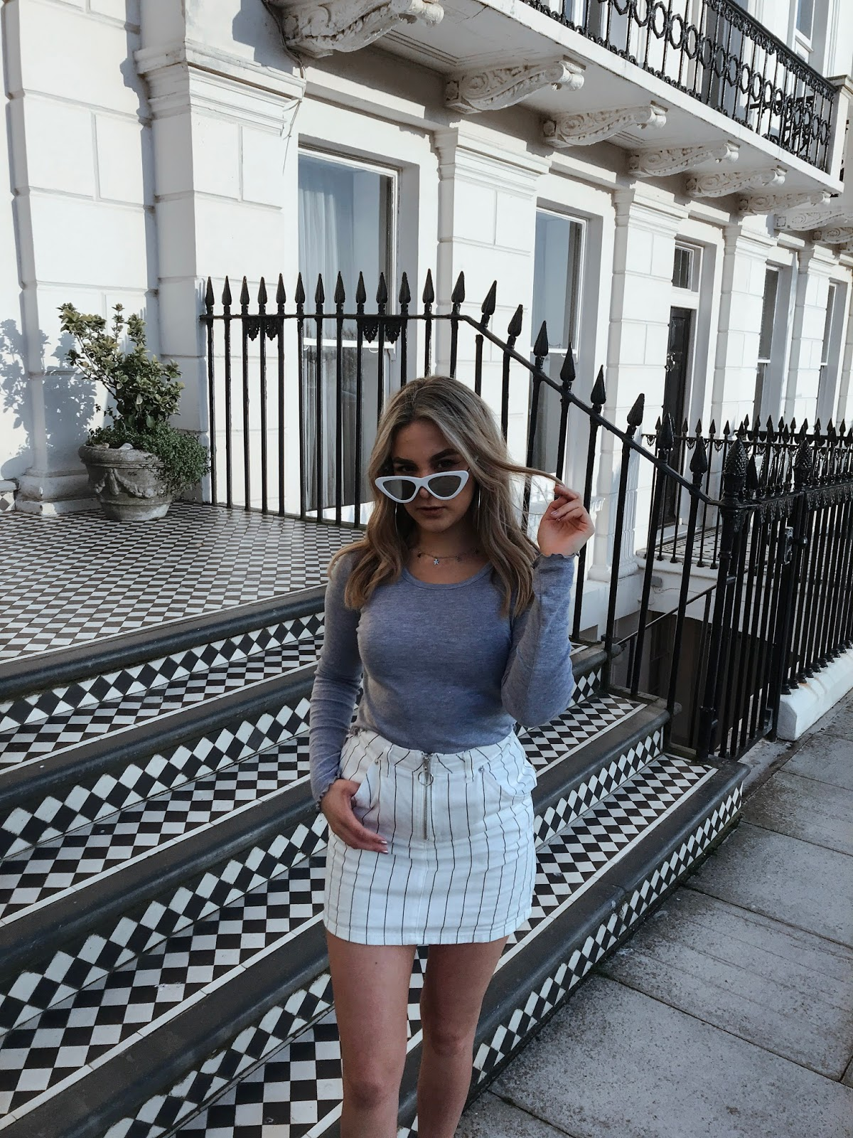 yasminstefanie topshop cat eye sunglasses grey white skirt