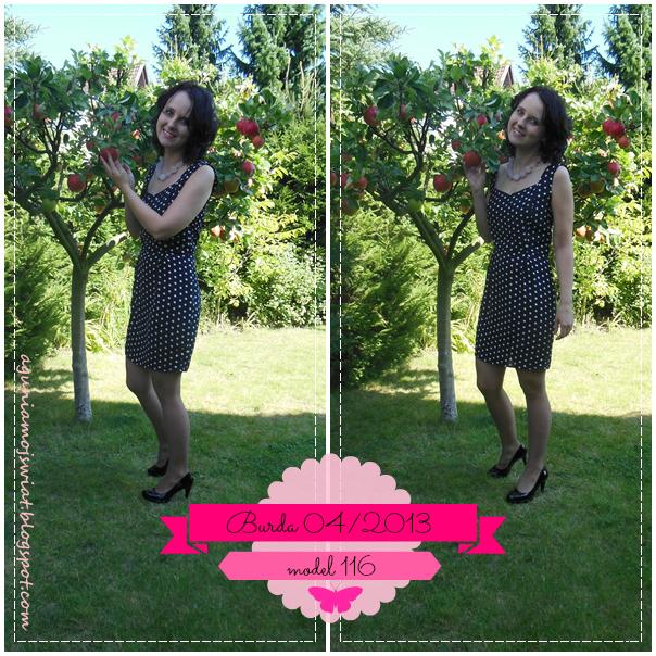 Sukienka w groszki uszyta z wykroju Burda 04/2013 model 116