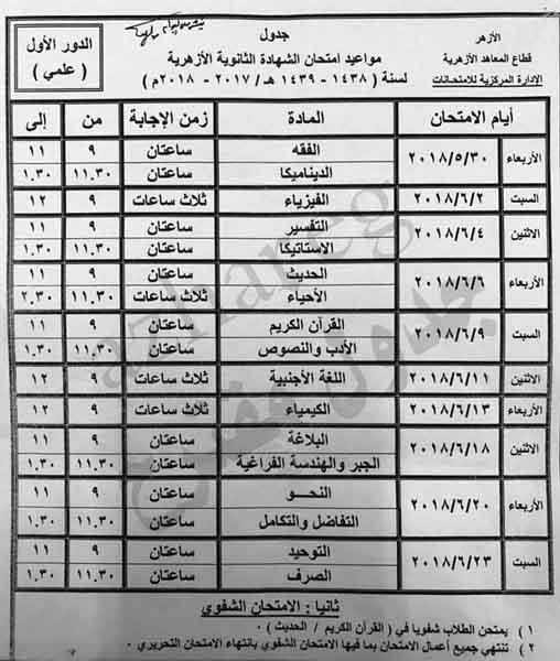 جدول امتحانات الثانوية الأزهرية 2018 علمي