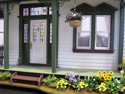 Front porch and door of a one-twefth scale miniature traditional New Zealand villa