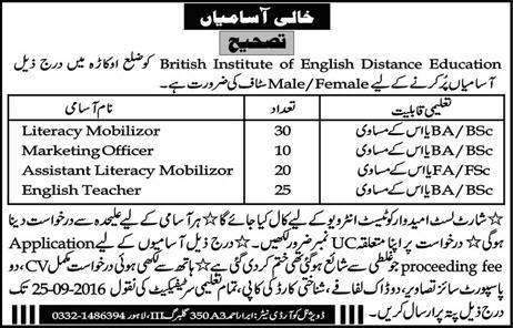 English Teachers Jobs in Lahore