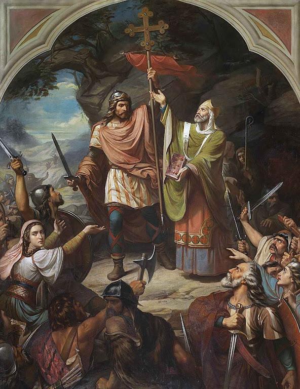Don Pelayo vencedor em Covadonga, Luis de Madrazo (1855-1860) Museo del Prado, Madri.