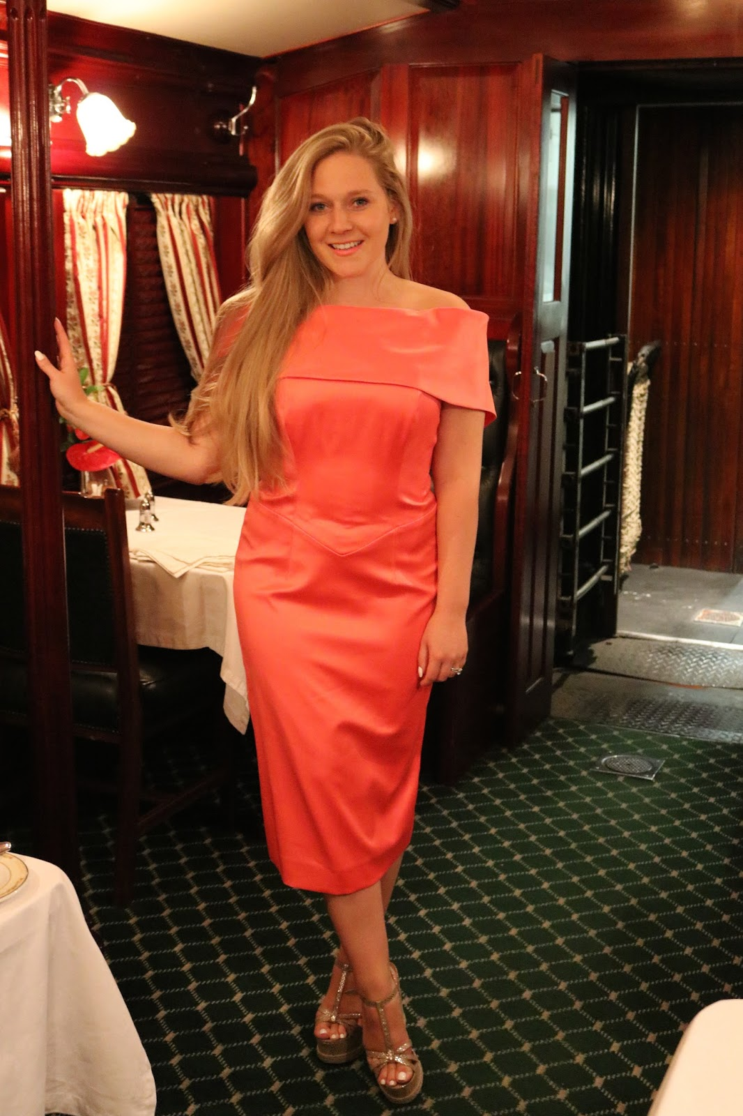 Rovos Rail, Pretoria to Durban, Blonde girl, Katie Heath wearing a Jacques Vert dress