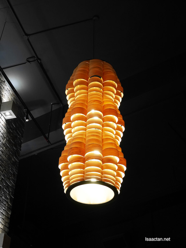 Yellow orange lighting lights up the restaurant