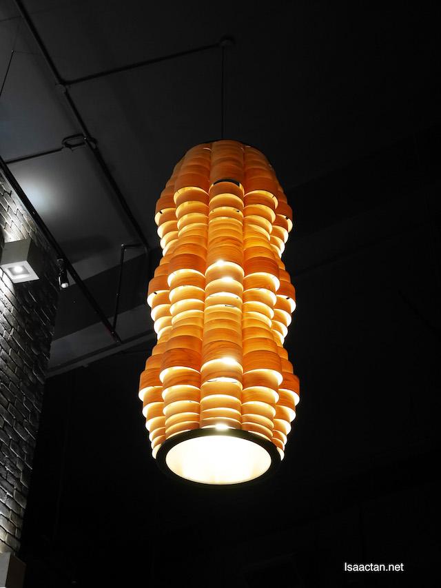 Yellow orange lighting lights up the restaurant