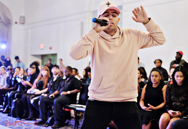 Singer/Rapper Xavier performs at Bracé NYFW. Photographed by Kent Johnson.