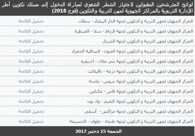 لوائح المترشحين المقبولين لاجتياز الشطر الشفوي لمباراة الدخول إلى مسلك تكوين أطر الإدارة التربوية  (فوج 2018)