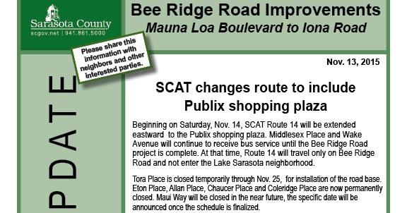 Bee Ridge Bus will extend Eastward to Bee Ridge Extension