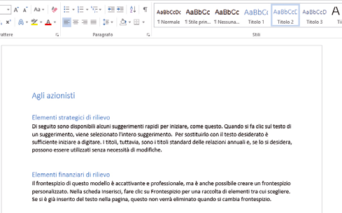 apertira documento word e uso stile o tema