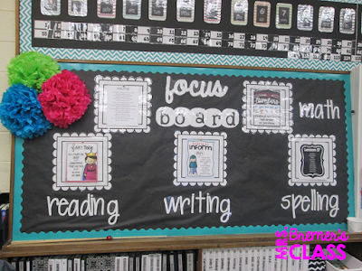 Classroom Focus Board / Classroom Objective Board to display what you're learning in class and to share learning goals. A purposeful bulletin board idea! #bulletinboards #focusboard #objectiveboard #classroomsetup #1stgrade #2ndgrade #classroomdecor #backtoschool #teachereyecandy