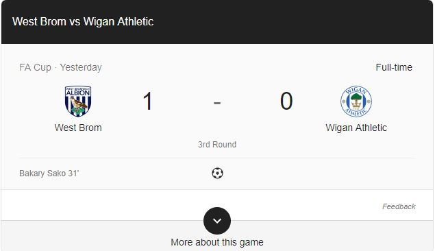 Gol West Brom 1 - 0 Wigan Highlights