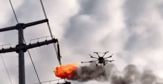 flame thrower drone china