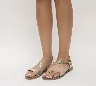 sandale aurii de vara cu talpa joasa de zi