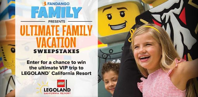 Fandango Family has a chance for you to enter once for your shot at winning a $10,000 family vacation for you and the kids to Legoland in California!