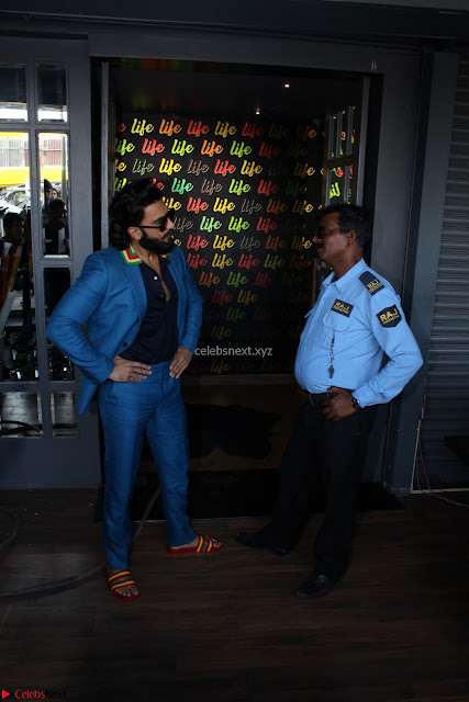 Ranveer Singh in Blue Blazer Spotted Life Bar ~  Exclusive 01.JPG