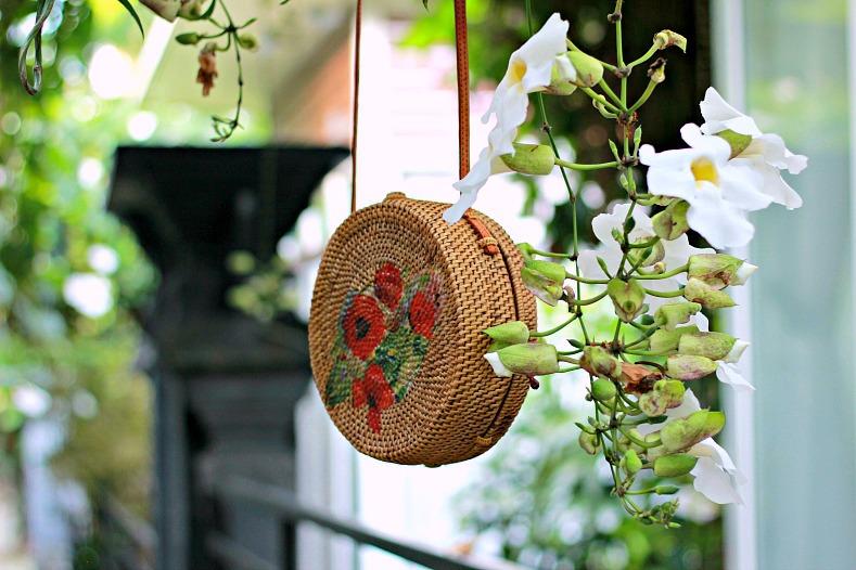 Floral Rattan Bali circle bag