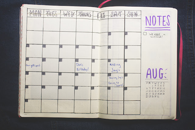 Bullet journal July 2017 Monthly spread set up inspiration